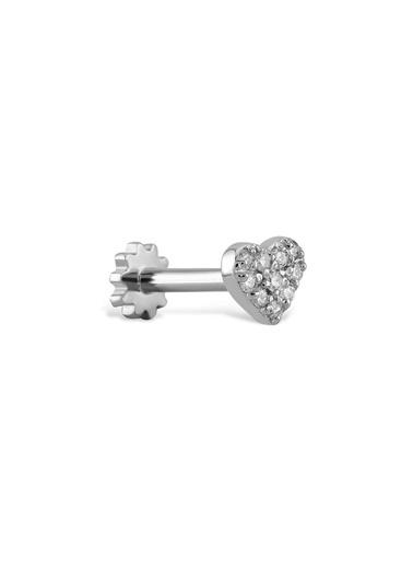 Piano Jewellery Kalp Pave Pırlanta Piercing 14 Ayar Gümüş